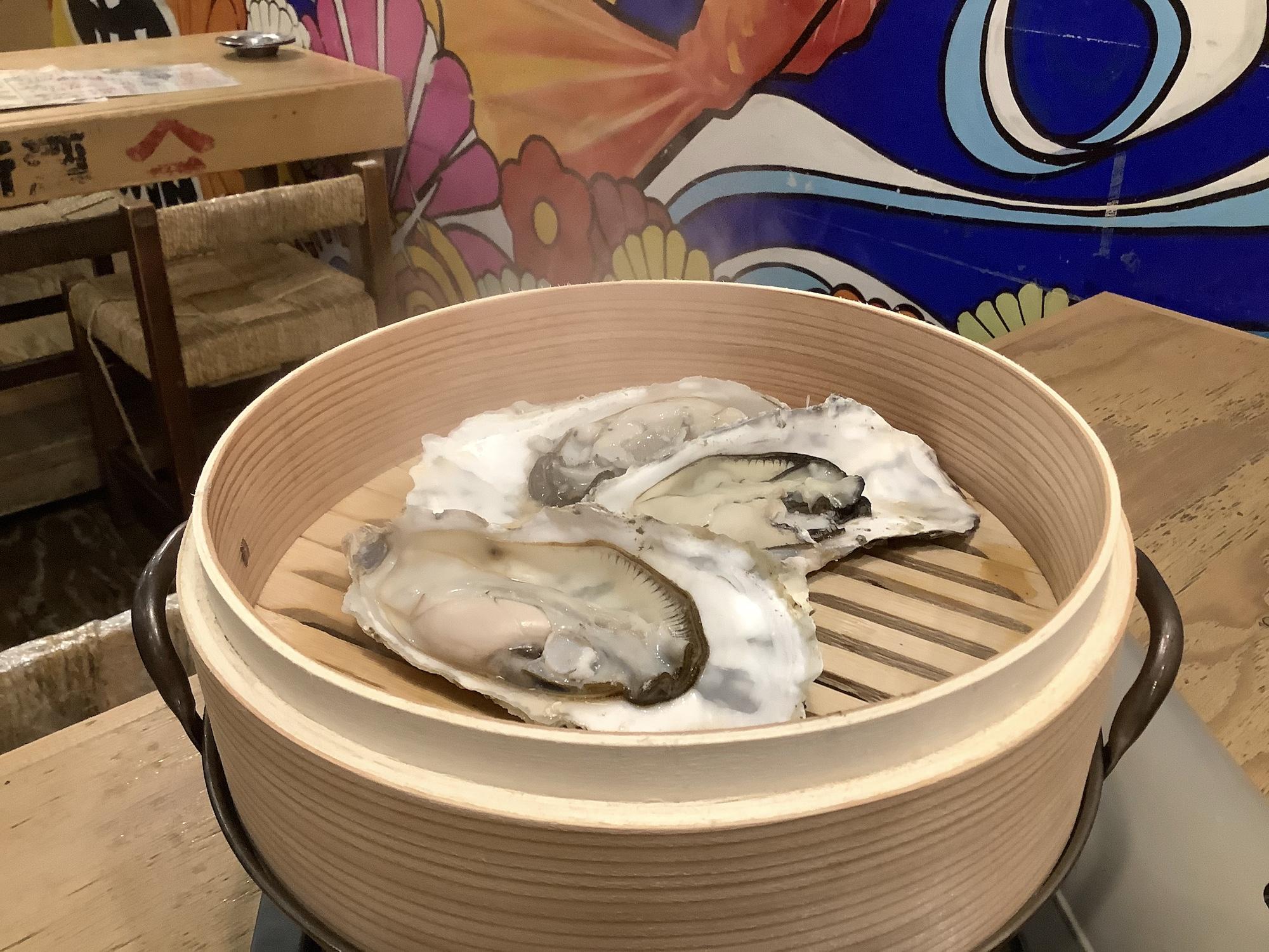 夏牡蠣のせいろ蒸し
